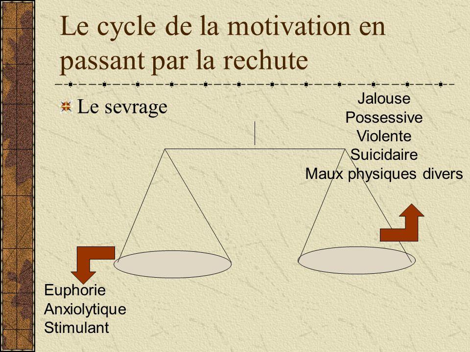 Le cycle de la motivation en passant par la rechute Le sevrage Euphorie Anxiolytique Stimulant Jalouse Possessive Violente Suicidaire Maux physiques divers