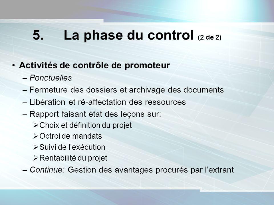 5. La phase du control (2 de 2) Activités de contrôle de promoteur –Ponctuelles –Fermeture des dossiers et archivage des documents –Libération et ré-a