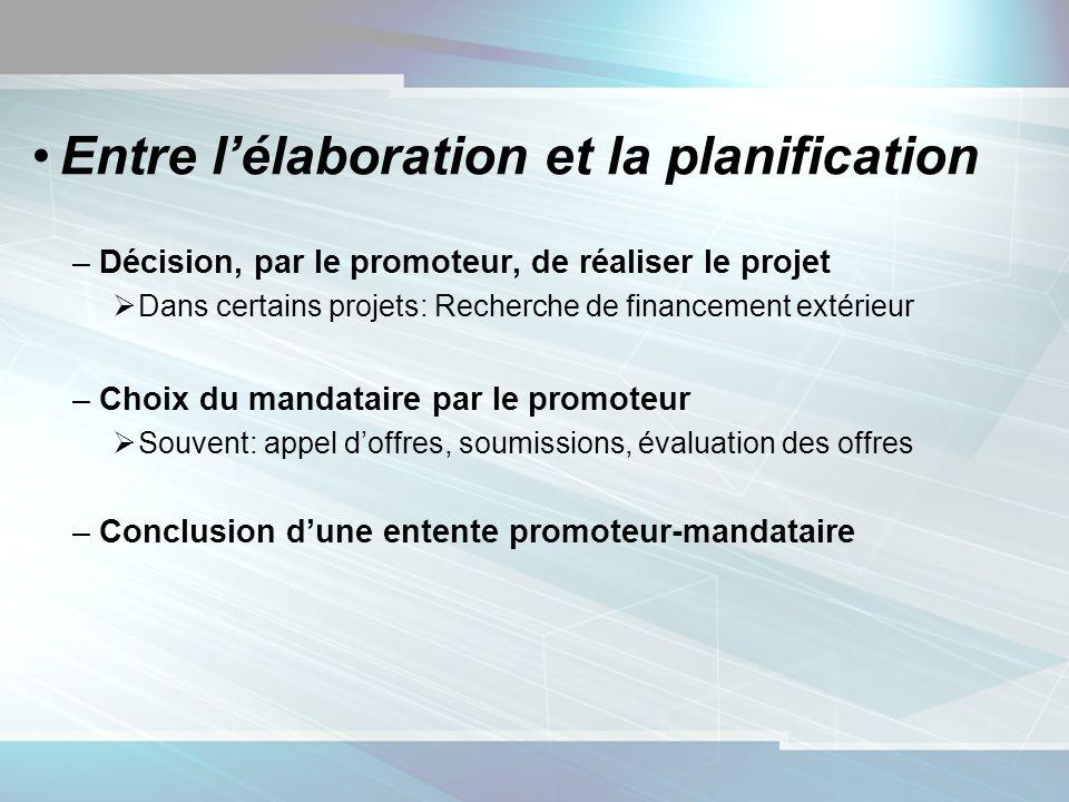 Entre lélaboration et la planification –Décision, par le promoteur, de réaliser le projet Dans certains projets: Recherche de financement extérieur –C