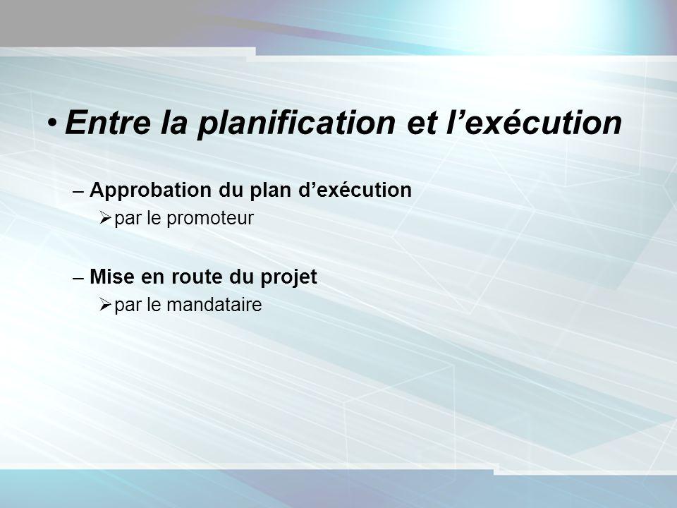 Entre la planification et lexécution –Approbation du plan dexécution par le promoteur –Mise en route du projet par le mandataire