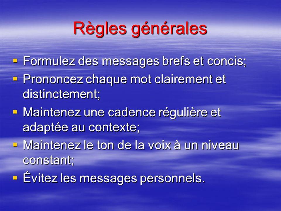 Règles générales Préparez votre message; Préparez votre message; Assurez-vous de ne gêner personne; Assurez-vous de ne gêner personne; Ne parlez à un