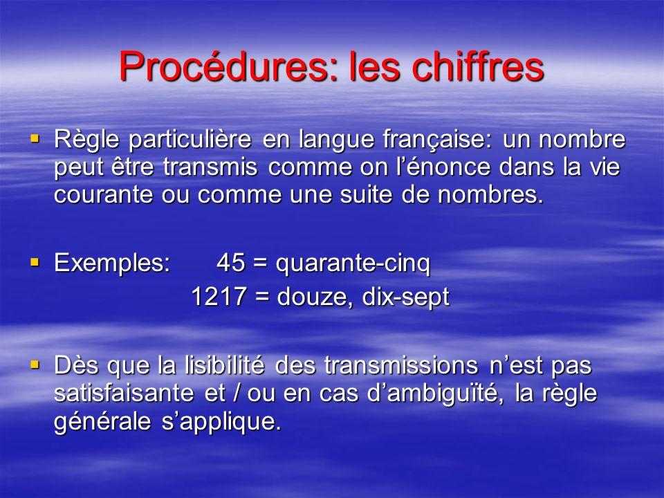 Procédures: les chiffres Règle générale: un nombre est transmis par énonciation de chacun des chiffres qui le composent. Exemple: 123 = unité deux tro