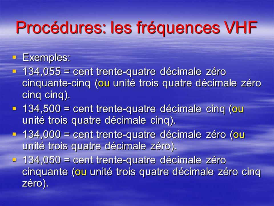 Procédures: les fréquences VHF Le contrôleur ou le pilote: Le contrôleur ou le pilote: –énonce le nombre formé par les trois premiers chiffres; –puis,