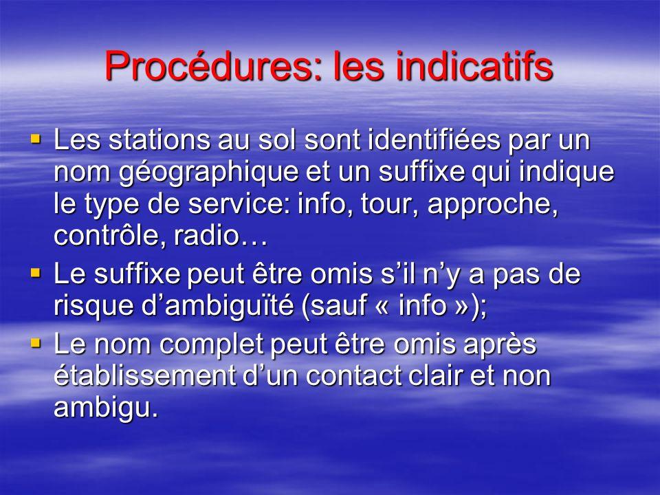 Procédures: les fréquences VHF Exemples: Exemples: 134,055 = cent trente-quatre décimale zéro cinquante-cinq (ou unité trois quatre décimale zéro cinq