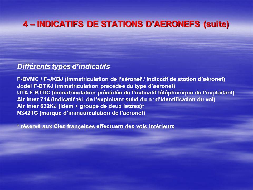 4 – INDICATIFS DE STATIONS DAERONEFS Indicatifs complets F-JKBJ : ULM F-BPTE / F-GHLK : aéronef à CDN normal F-PCZD : aéronef à CDN restreint F-ZCHW :