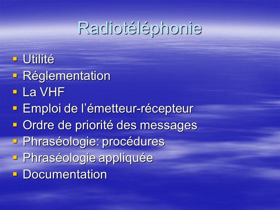 Radiotéléphonie Utilisation de la radio et phraséologie