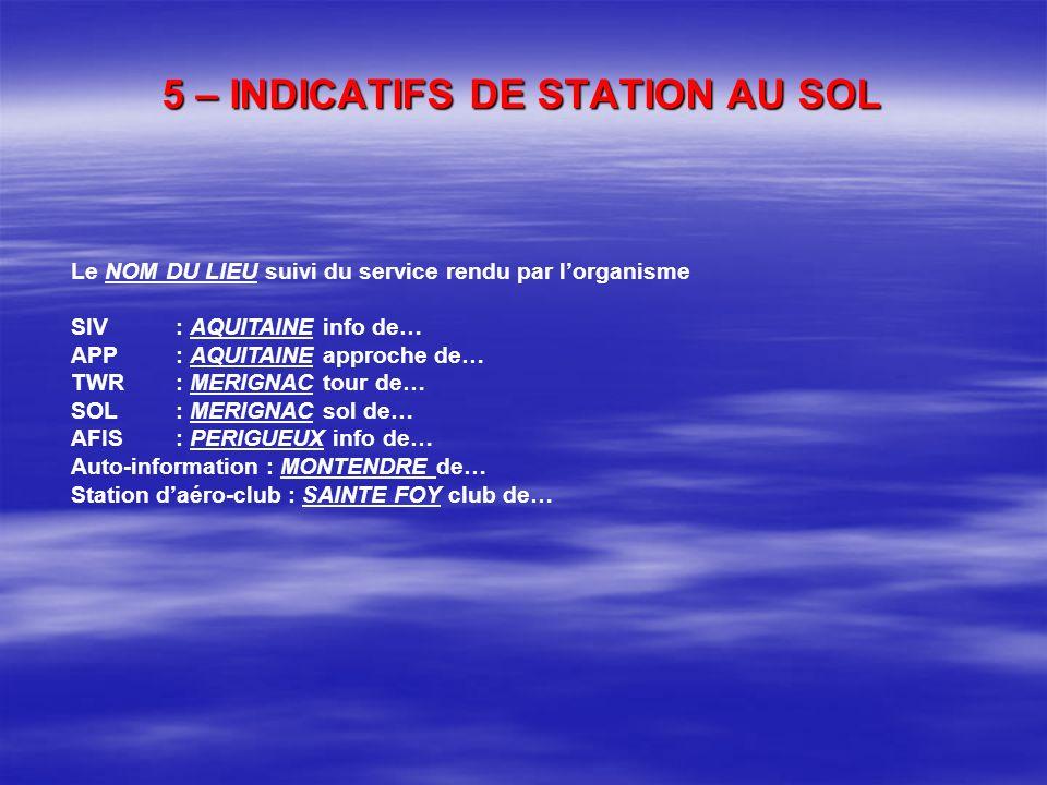 4 – INDICATIFS DE STATIONS DAERONEFS (suite) Différents types dindicatifs F-BVMC / F-JKBJ (immatriculation de laéronef / indicatif de station daéronef