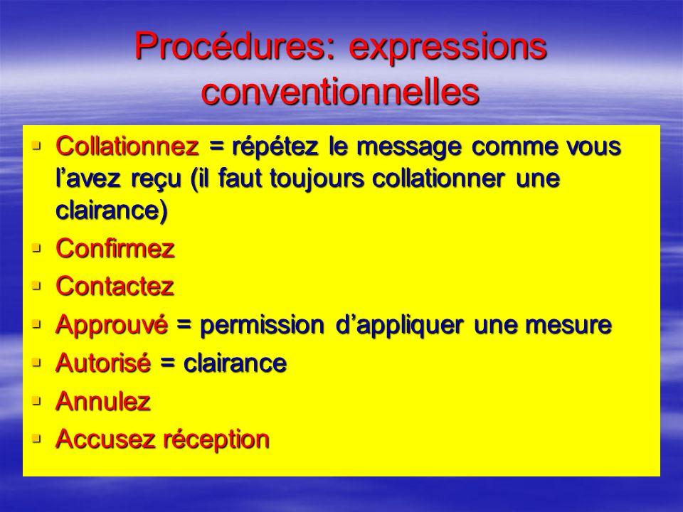 Procédures: expressions conventionnelles Affirme = ouiNégatif = non Affirme = ouiNégatif = non Roger = bien reçu votre dernier message en entier Roger