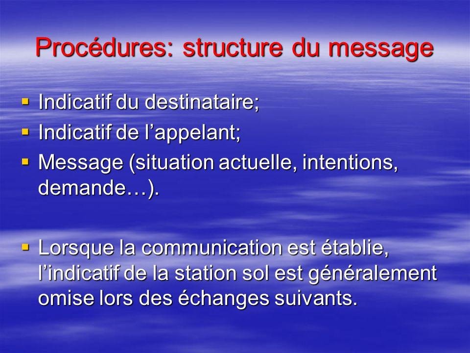 Procédures: expressions conventionnelles Collationnez = répétez le message comme vous lavez reçu (il faut toujours collationner une clairance) Collati