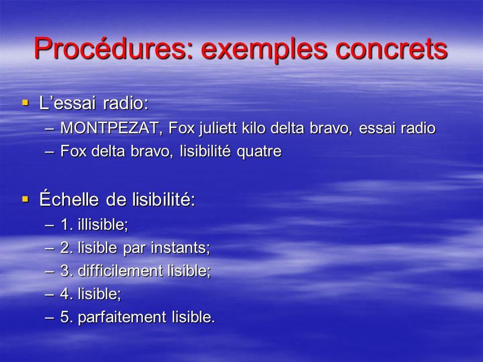 Procédures: exemples concrets Vous trouverez quelques exemples de communications radiotéléphoniques dans le Manuel du Pilote. Vous trouverez quelques