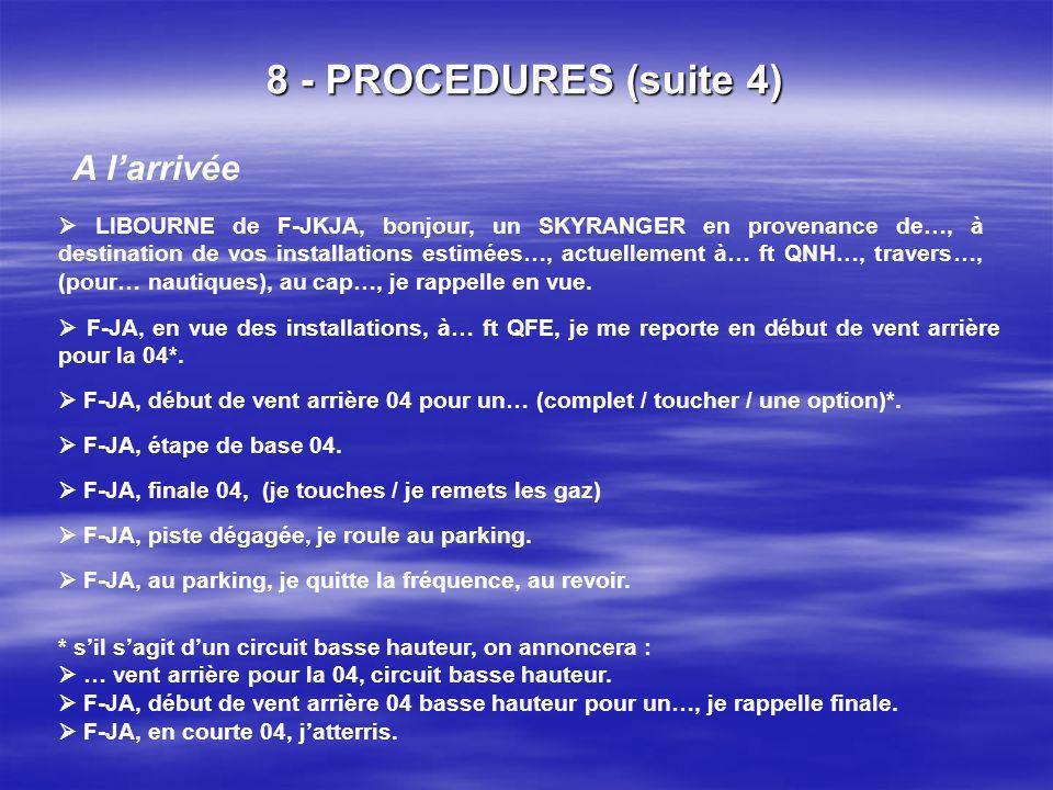 8 - PROCEDURES (suite 3) ii. Auto info sur fréquence propre / exemple : LIBOURNE La seule différence de procédure en auto info sur fréquence propre pa
