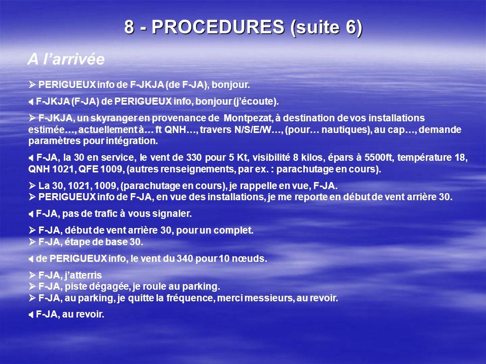 8 - PROCEDURES (suite 5) iii. Organisme AFIS / exemple : PERIGUEUX Au départ F-JA, au revoir. PERIGUEUX info de F-JA, en sortie de circuit, je quitte