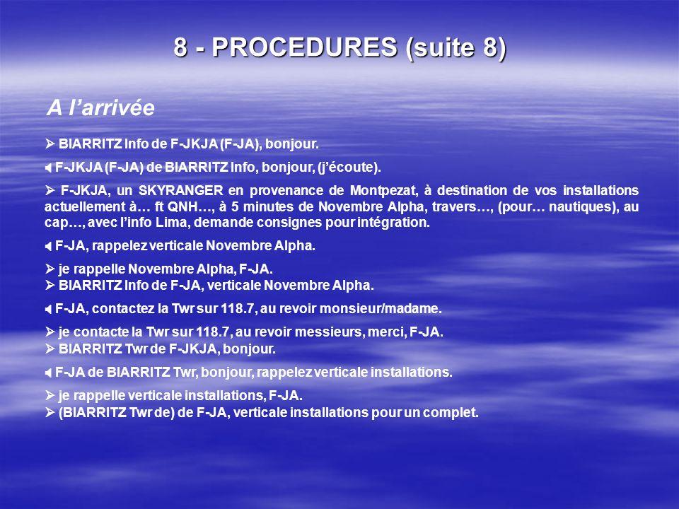 8 - PROCEDURES (suite 7) iv. Espace aérien contrôlé / exemple : BIARRITZ Au départ je quitte la fréquence et je contacte BIARRITZ Info 125.6, merci Me
