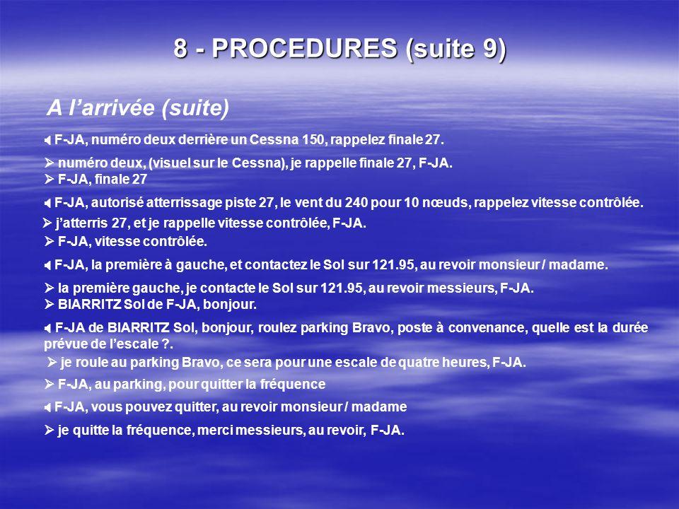 8 - PROCEDURES (suite 8) A larrivée (BIARRITZ Twr de) de F-JA, verticale installations pour un complet. je rappelle verticale installations, F-JA. F-J