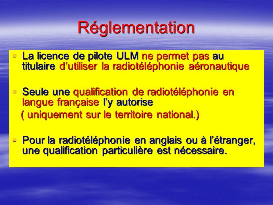 Réglementation La licence de pilote ULM ne permet pas au titulaire dutiliser la radiotéléphonie aéronautique La licence de pilote ULM ne permet pas au titulaire dutiliser la radiotéléphonie aéronautique Seule une qualification de radiotéléphonie en langue française ly autorise Seule une qualification de radiotéléphonie en langue française ly autorise ( uniquement sur le territoire national.) ( uniquement sur le territoire national.) Pour la radiotéléphonie en anglais ou à létranger, une qualification particulière est nécessaire.