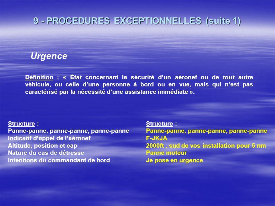9 - PROCEDURES EXCEPTIONNELLES Détresse (frq 121,5) Définition : « Etat caractérisé par la menace dun danger grave et imminent et par la nécessité dun