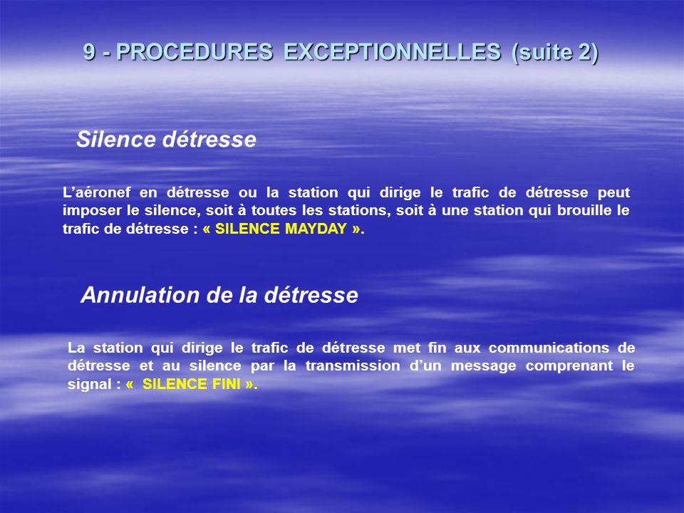 9 - PROCEDURES EXCEPTIONNELLES (suite 1) Urgence Définition : « État concernant la sécurité dun aéronef ou de tout autre véhicule, ou celle dune perso