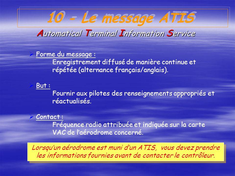 9 - PROCEDURES EXCEPTIONNELLES (suite 2) Silence détresse Laéronef en détresse ou la station qui dirige le trafic de détresse peut imposer le silence,