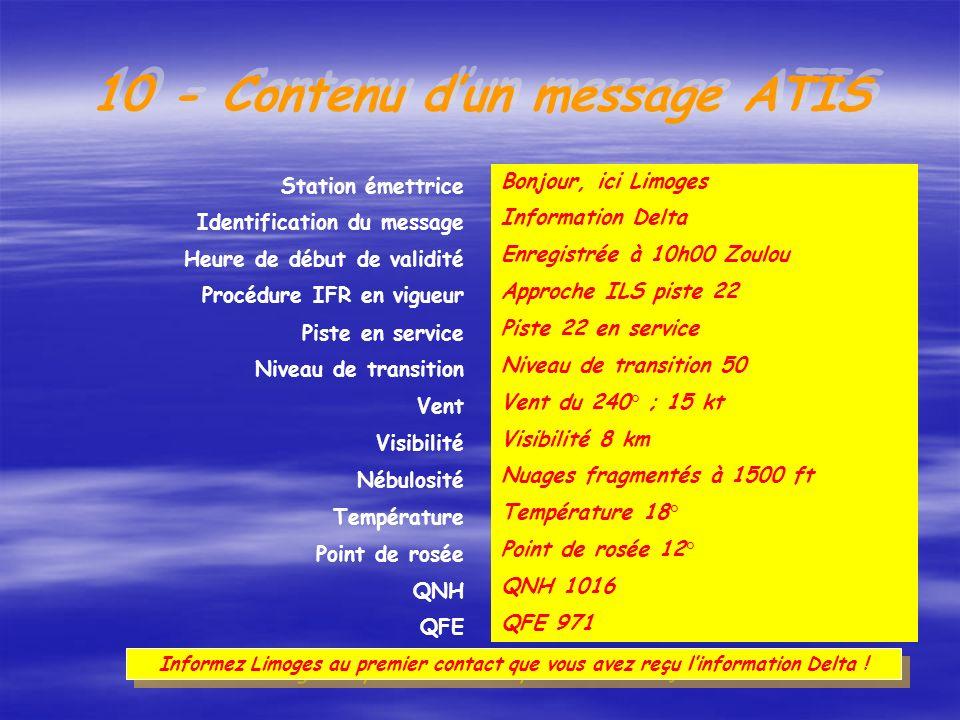 Forme du message : Enregistrement diffusé de manière continue et répétée (alternance français/anglais). But : Fournir aux pilotes des renseignements a