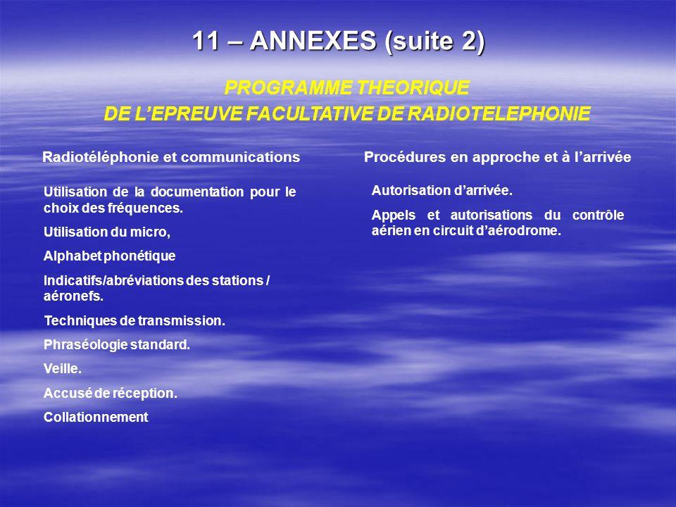 11 – ANNEXES (suite 1) Arrêté du 04 mai 2000 … relatif aux programmes et régime des examens du brevet et de la licence de pilote daéronef ultra léger