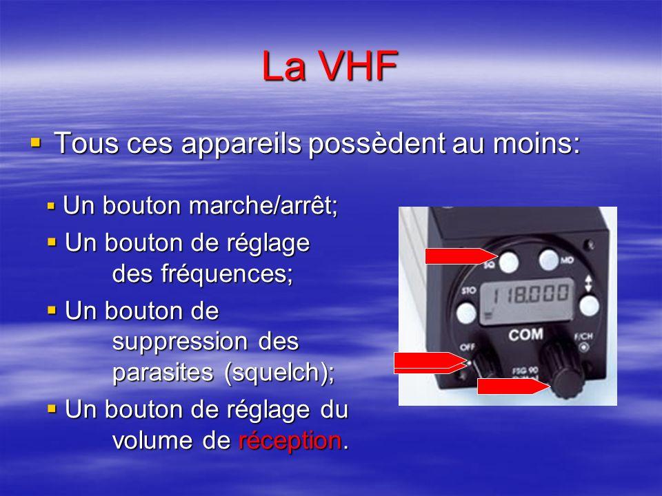 La VHF Tous ces appareils possèdent au moins: Tous ces appareils possèdent au moins: Un bouton marche/arrêt; Un bouton marche/arrêt; Un bouton de réglage des fréquences; Un bouton de réglage des fréquences; Un bouton de suppression des parasites (squelch); Un bouton de suppression des parasites (squelch); Un bouton de réglage du volume de réception.