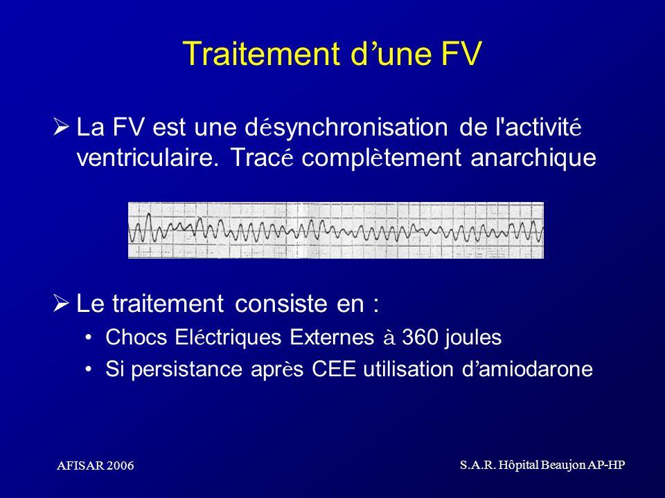 AFISAR 2006 S.A.R. Hôpital Beaujon AP-HP Traitement d une FV La FV est une d é synchronisation de l'activit é ventriculaire. Trac é compl è tement ana