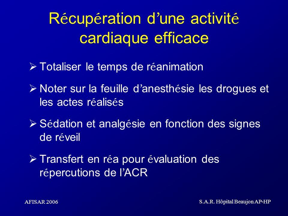 AFISAR 2006 S.A.R. Hôpital Beaujon AP-HP R é cup é ration d une activit é cardiaque efficace Totaliser le temps de r é animation Noter sur la feuille