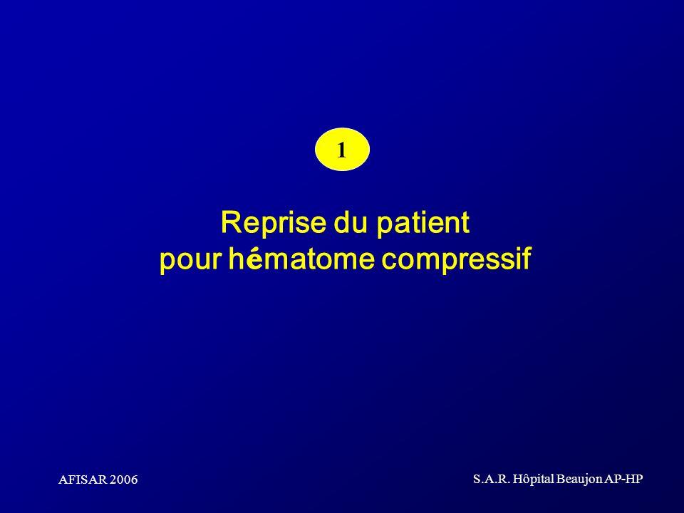 AFISAR 2006 S.A.R. Hôpital Beaujon AP-HP Reprise du patient pour h é matome compressif 1