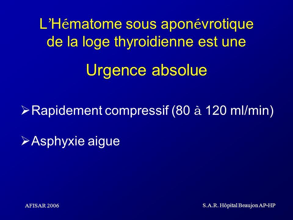 AFISAR 2006 S.A.R. Hôpital Beaujon AP-HP L H é matome sous apon é vrotique de la loge thyroidienne est une Urgence absolue Rapidement compressif (80 à