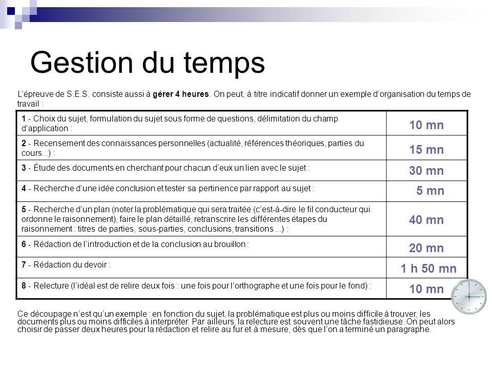 Gestion du temps 1 - Choix du sujet, formulation du sujet sous forme de questions, délimitation du champ dapplication : 2 - Recensement des connaissan
