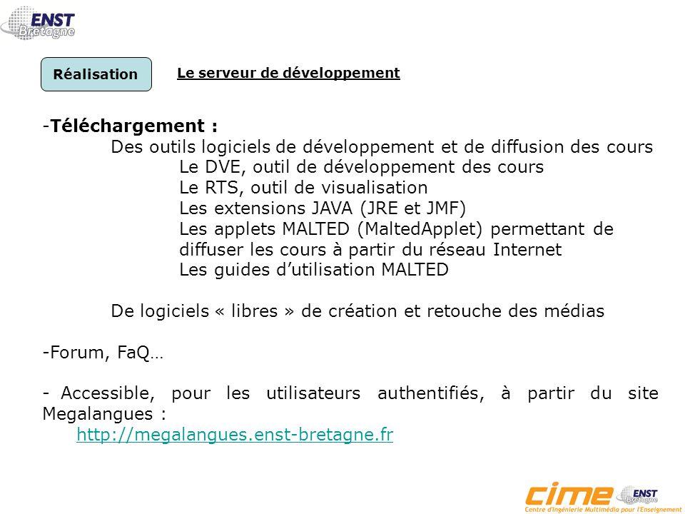 Diffusion Accès au serveur de diffusion Et Au serveur de développement -Site MEGALANGUES http://megalangues.enst-bretagne.fr