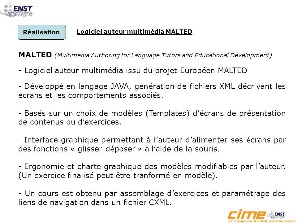 2ème Etape : Réalisation - Adaptation des outils MALTED/MEGALANGUES Création de nouveaux modèles décrans et dexercices.