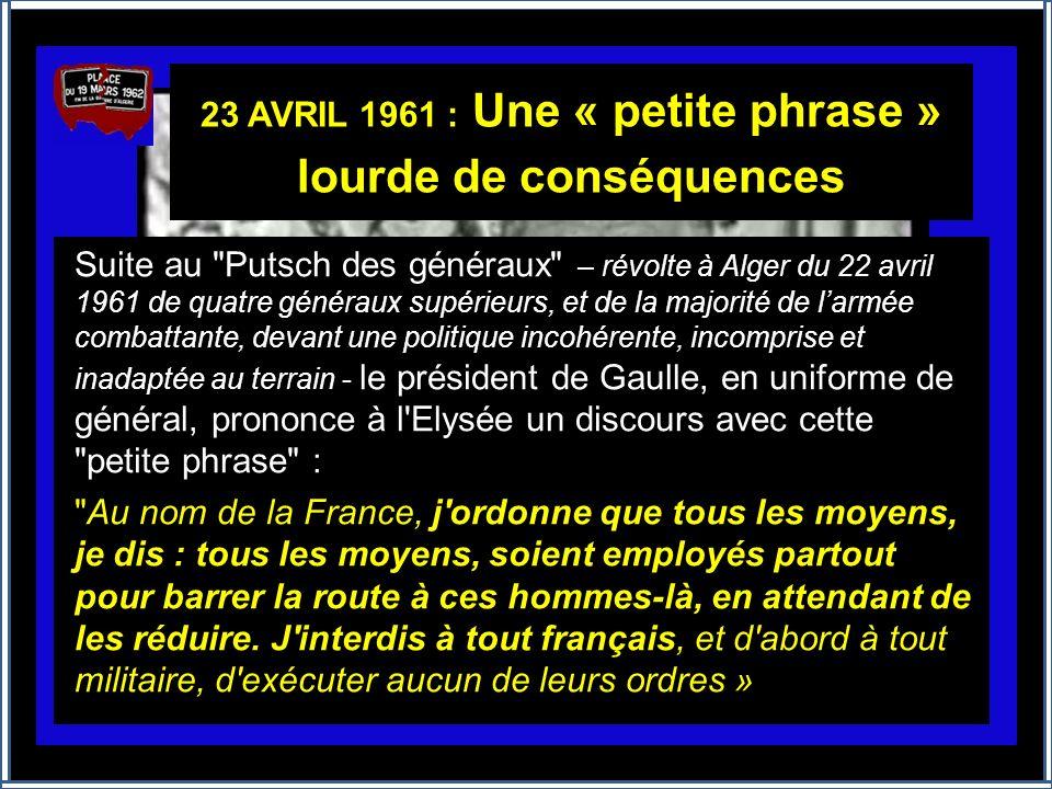 Le Général Charles DE GAULLE Alger 4 juin 1958 « Je vous ai compris ! … je vois que la route que vous avez ouverte en Algérie, cest celle de la rénova