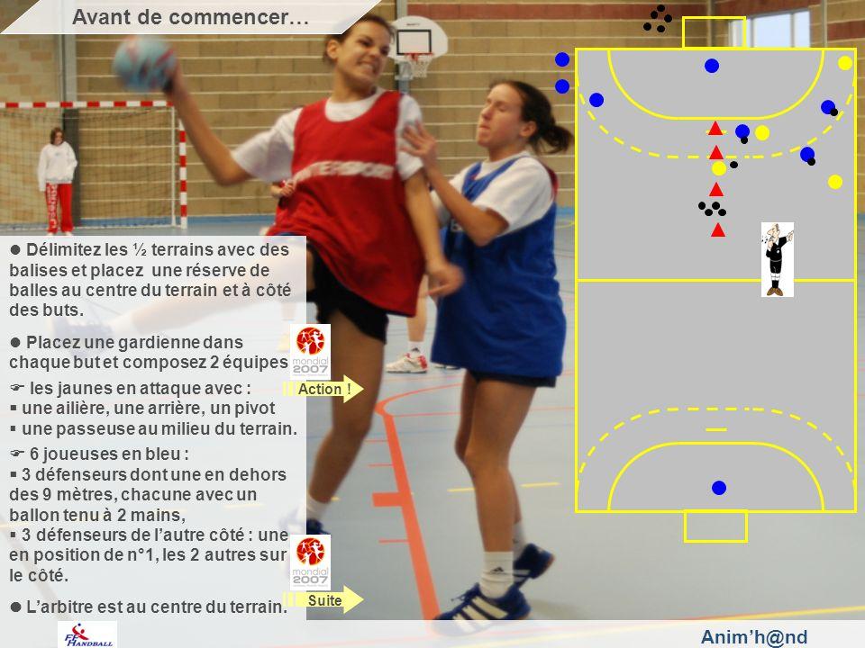 Animh@nd Délimitez les ½ terrains avec des balises et placez une réserve de balles au centre du terrain et à côté des buts.