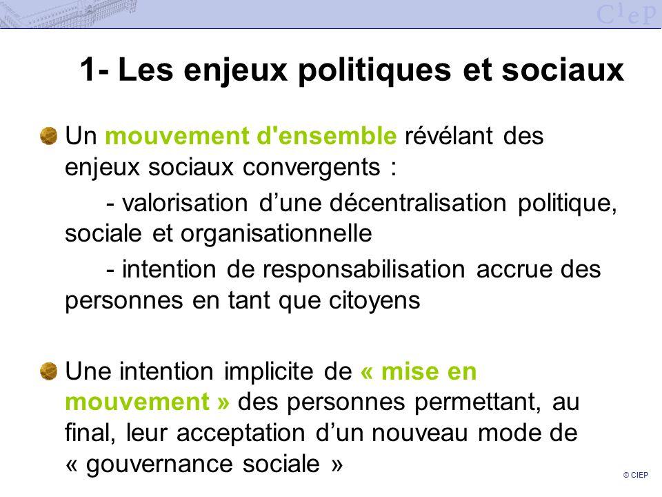 © CIEP 1- Les enjeux politiques et sociaux Un mouvement d'ensemble révélant des enjeux sociaux convergents : - valorisation dune décentralisation poli