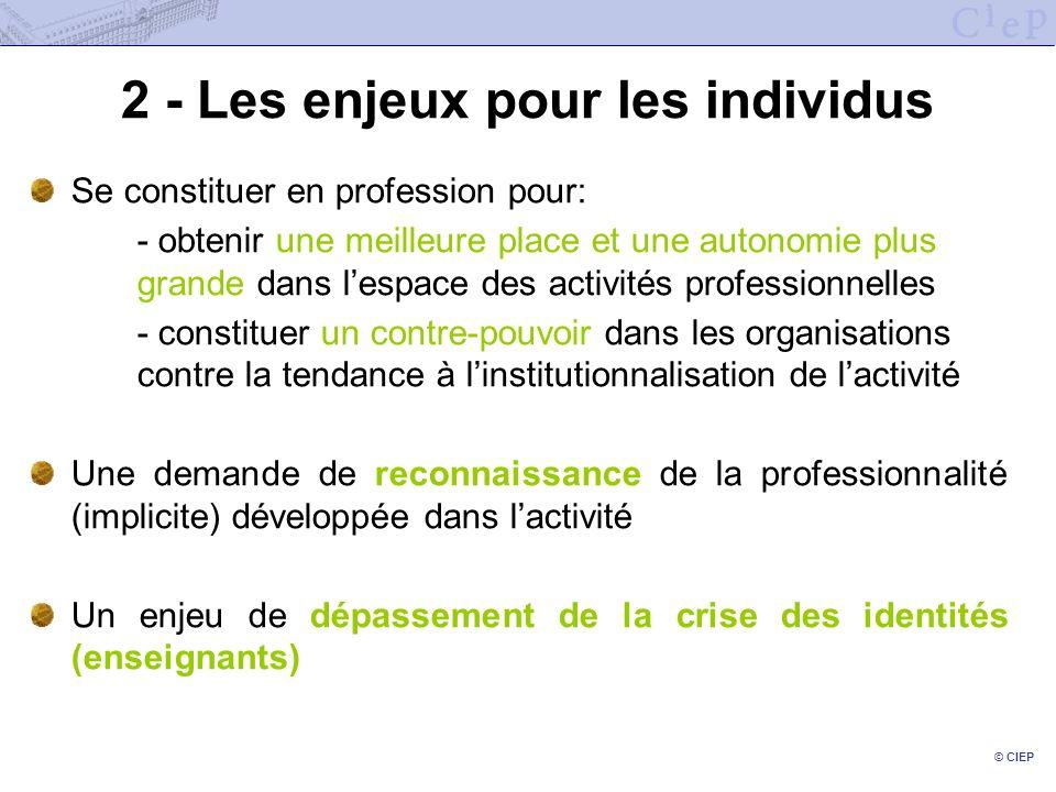 © CIEP 2 - Les enjeux pour les individus Se constituer en profession pour: - obtenir une meilleure place et une autonomie plus grande dans lespace des