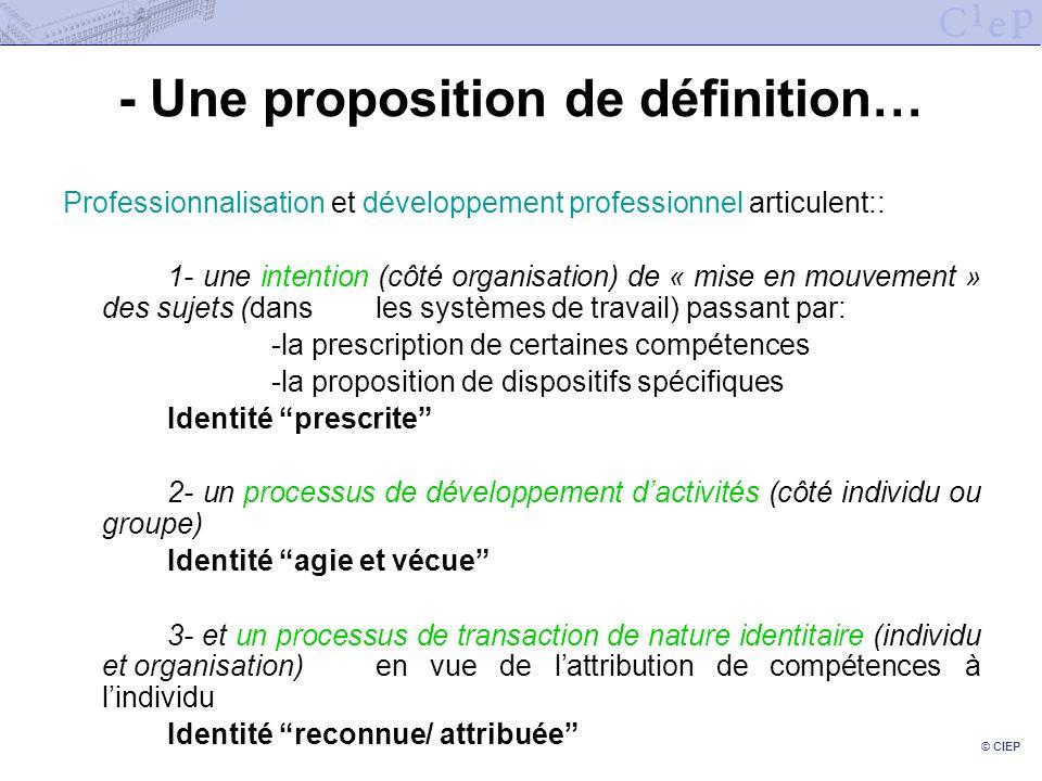 © CIEP - Une proposition de définition… Professionnalisation et développement professionnel articulent:: 1- une intention (côté organisation) de « mis