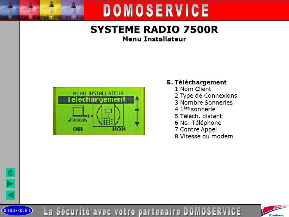 LA SECURITE SYSTEME RADIO 7500R Menu Installateur 5. Téléchargement 1 Nom Client 1 Nom Client 2 Type de Connexions 2 Type de Connexions 3 Nombre Sonne