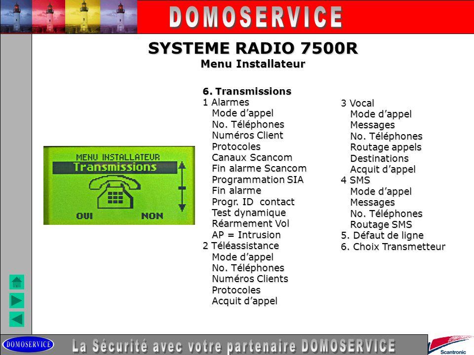 LA SECURITE SYSTEME RADIO 7500R Menu Installateur 6. Transmissions 1 Alarmes Mode dappel Mode dappel No. Téléphones No. Téléphones Numéros Client Numé