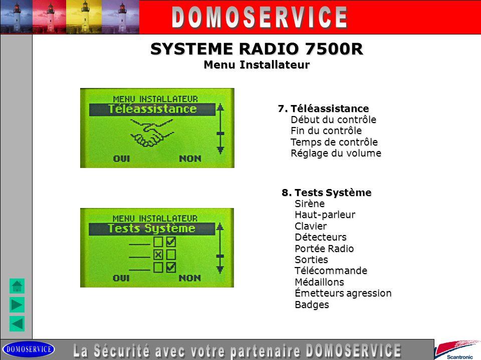 LA SECURITE SYSTEME RADIO 7500R Menu Installateur. Téléassistance 7. Téléassistance Début du contrôle Début du contrôle Fin du contrôle Fin du contrôl
