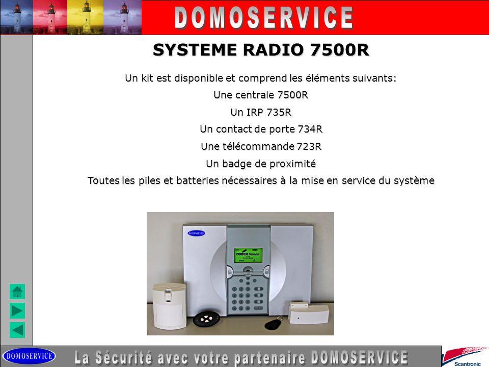 LA SECURITE SYSTEME RADIO 7500R Un kit est disponible et comprend les éléments suivants: Une centrale 7500R Un IRP 735R Un contact de porte 734R Une t