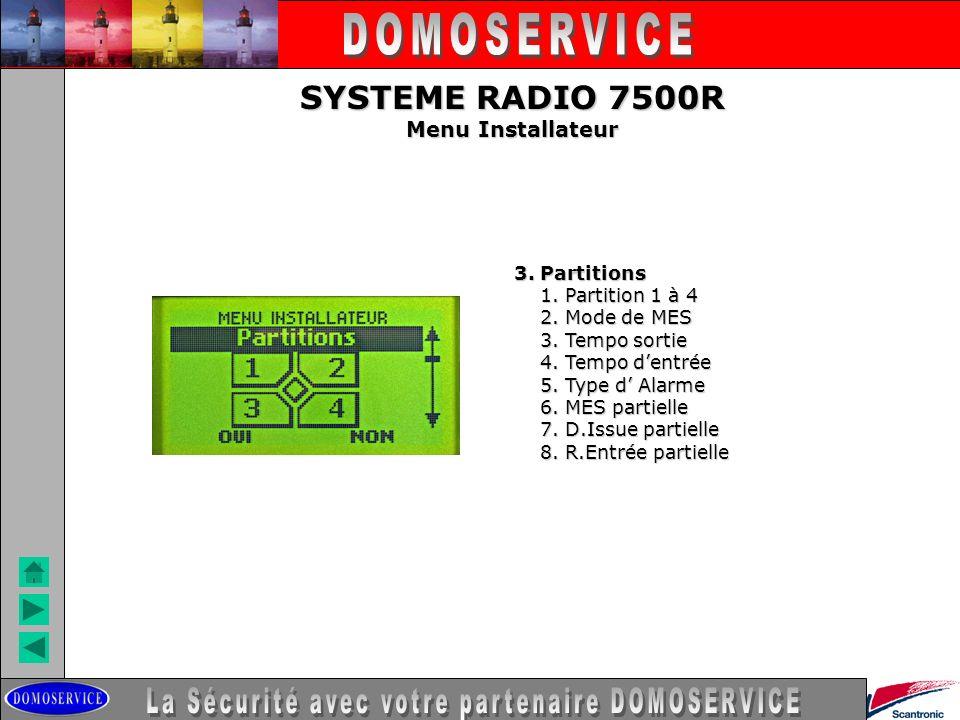LA SECURITE SYSTEME RADIO 7500R Menu Installateur 3. Partitions 1. Partition 1 à 4 1. Partition 1 à 4 2. Mode de MES 2. Mode de MES 3. Tempo sortie 3.