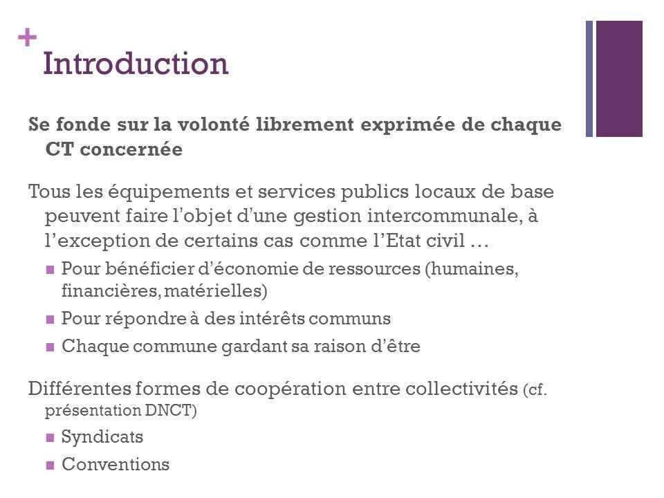 + Introduction Se fonde sur la volonté librement exprimée de chaque CT concernée Tous les équipements et services publics locaux de base peuvent faire