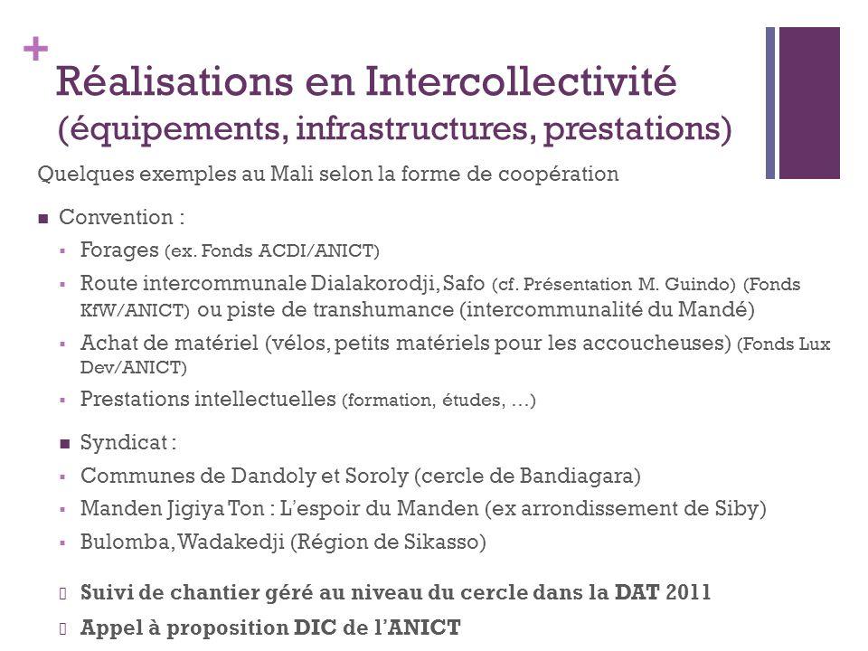 + Réalisations en Intercollectivité (équipements, infrastructures, prestations) Quelques exemples au Mali selon la forme de coopération Convention : Forages (ex.