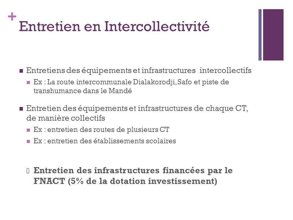 + Entretien en Intercollectivité Entretiens des équipements et infrastructures intercollectifs Ex : La route intercommunale Dialakorodji, Safo et pist