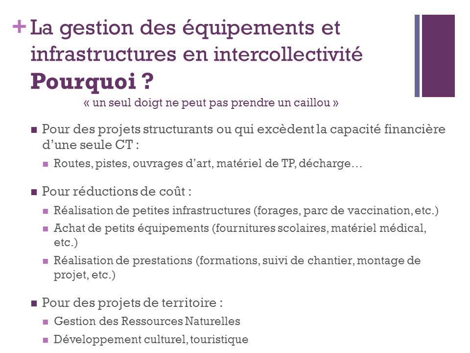 + La gestion des équipements et infrastructures en intercollectivité Pourquoi ? es équipements et infrastructures en intercommunalité Pour des projets