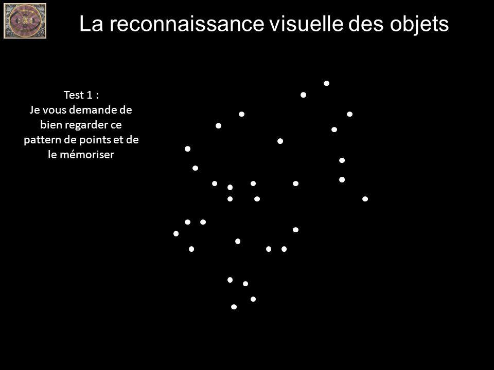 La reconnaissance visuelle des objets Test 1 : Je vous demande de bien regarder ce pattern de points et de le mémoriser