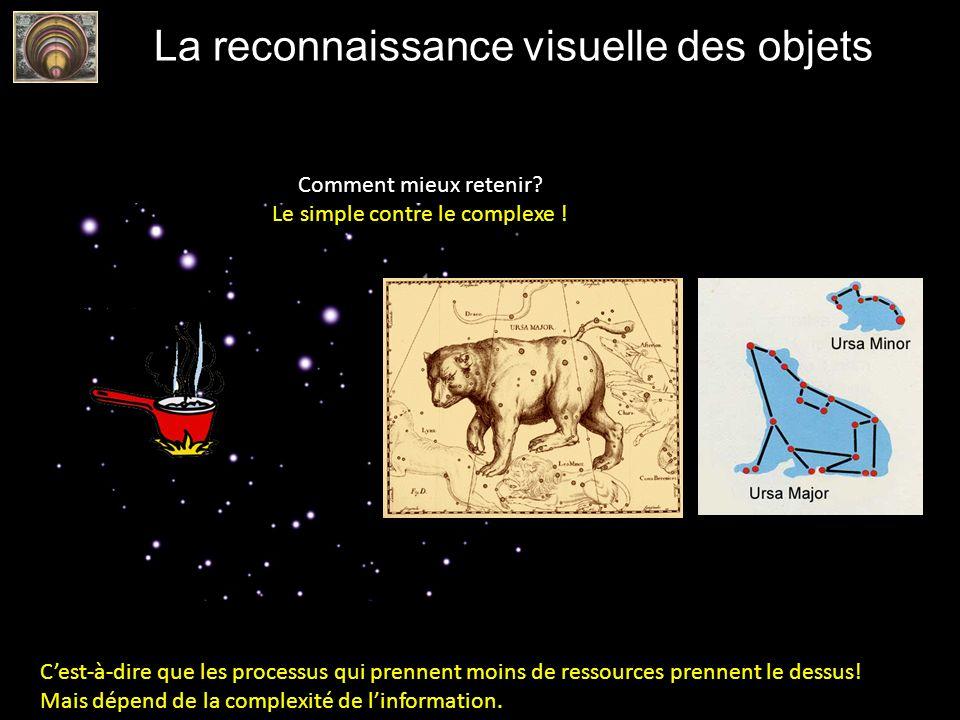 La reconnaissance visuelle des objets Comment mieux retenir? Le simple contre le complexe ! Cest-à-dire que les processus qui prennent moins de ressou