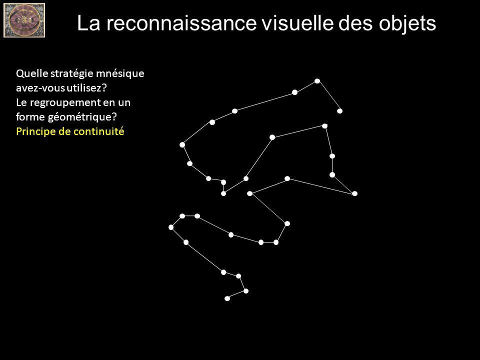 La reconnaissance visuelle des objets Quelle stratégie mnésique avez-vous utilisez? Le regroupement en un forme géométrique? Principe de continuité