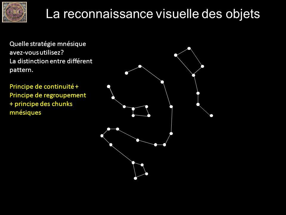La reconnaissance visuelle des objets Quelle stratégie mnésique avez-vous utilisez? La distinction entre différent pattern. Principe de continuité + P